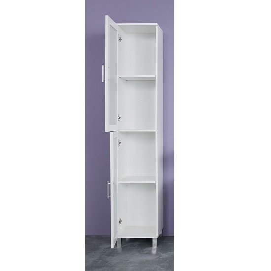 Onix Bathroom Cabinet In White And Glass Fronts With 2 Doors_2