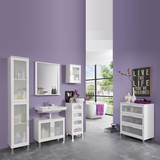 Onix Bathroom Cabinet In White And Glass Fronts With 3 Drawers_3