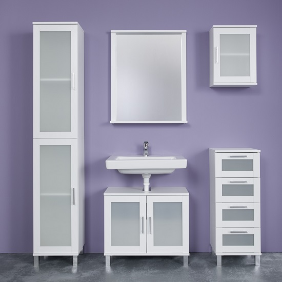 Onix Bathroom Wall Mirror Rectangular In White With Shelf_3