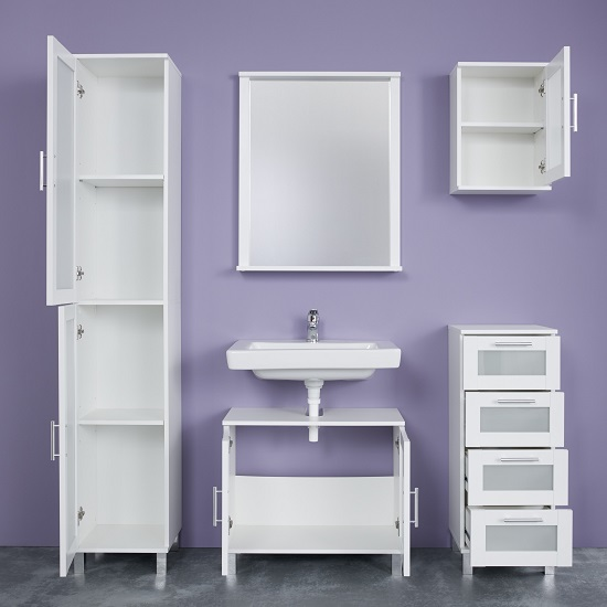Onix Bathroom Wall Mirror Rectangular In White With Shelf_4