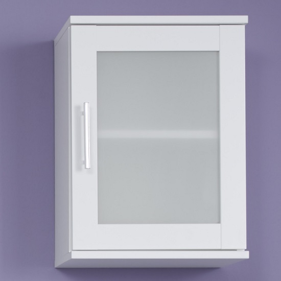 Photo of Onix bathroom wall mounted cabinet in white and glass fronts
