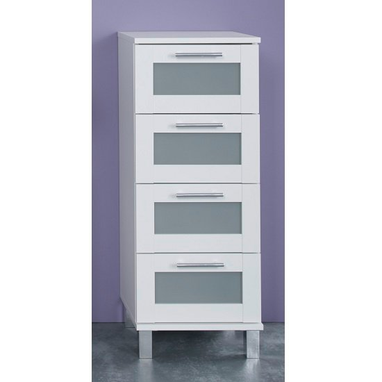 Onix Bathroom Cabinet In White And Glass Fronts With 4 Drawers