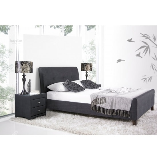 Ontario Fabric King Size Bed In Slate With Wooden Legs