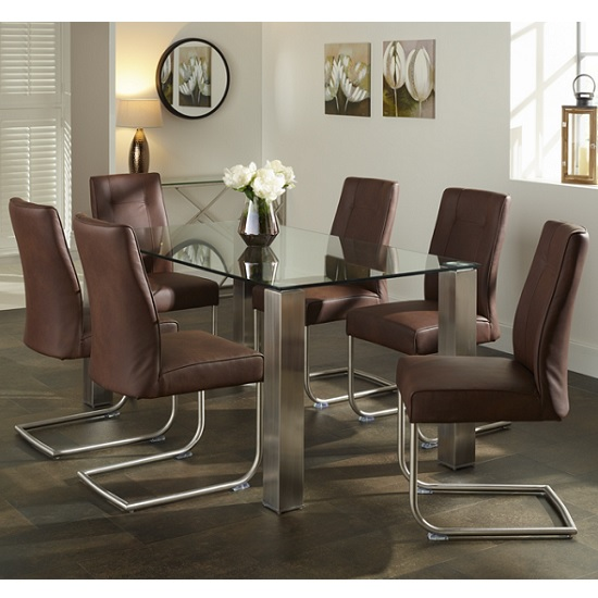Ontario Glass Dining Table Rectangular With 6 Telsa Chairs