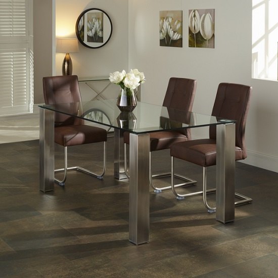 Ontario glass dining table rectangular with telsa chairs