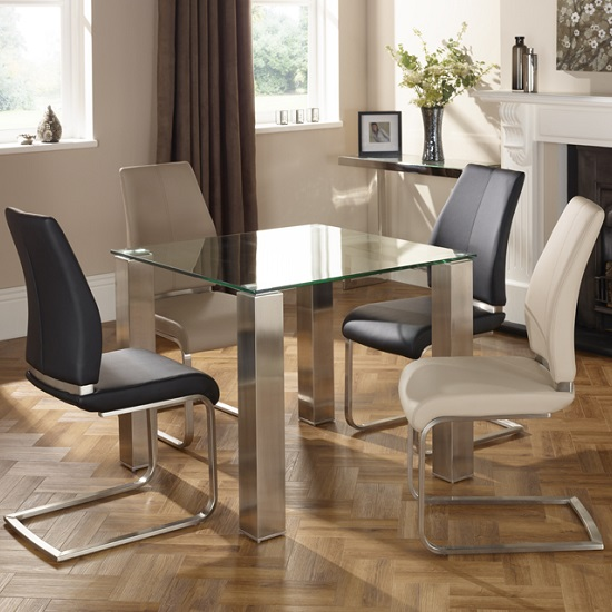 Ontario Glass Dining Table Square With 4 Dawlish Chairs_2