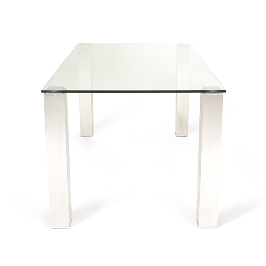 Ontario Glass Dining Table Rectangular With Stainless Steel Base_2