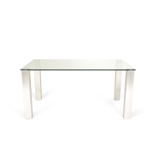 Ontario Glass Dining Table Rectangular With Stainless Steel Base_3