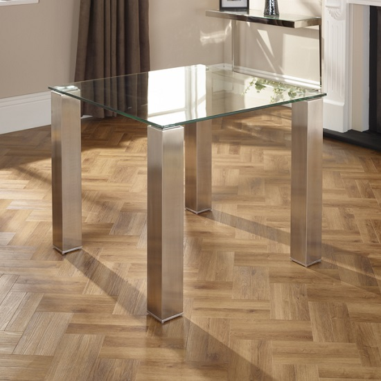 Ontario Glass Dining Table Square With 4 Dawlish Chairs_3