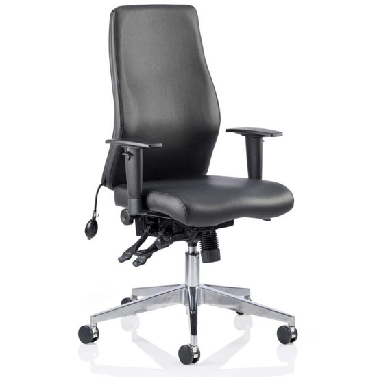 Onyx Ergo Leather Posture Office Chair In Black With Arms
