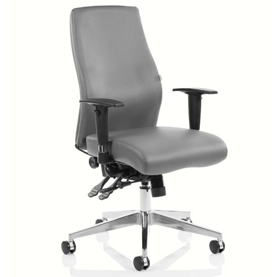 Onyx Ergo Leather Posture Office Chair In Grey With Arms
