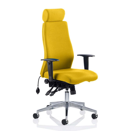 Onyx Headrest Office Chair In Senna Yellow With Arms