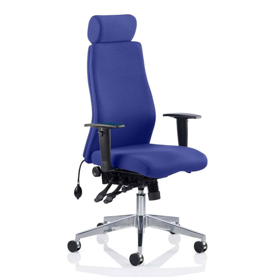 Onyx Headrest Office Chair In Stevia Blue With Arms