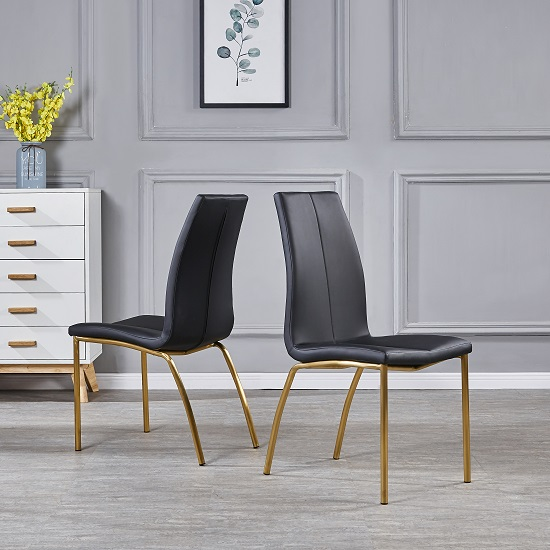 Opal Dining Chair In Black Faux Leather With Brushed Gold Base