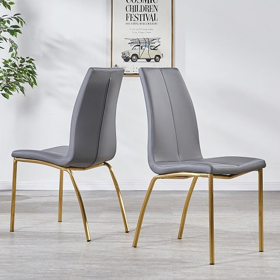 Opal Dining Chair In Grey Faux Leather With Brushed Gold Base