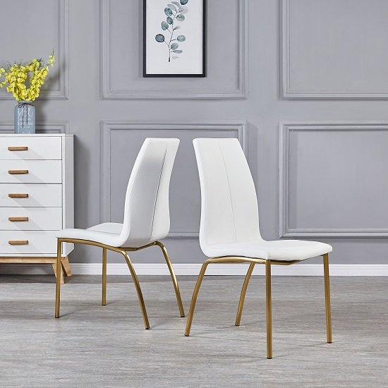 Opal Dining Chair In White PU With Brushed Gold Base In A Pair_1