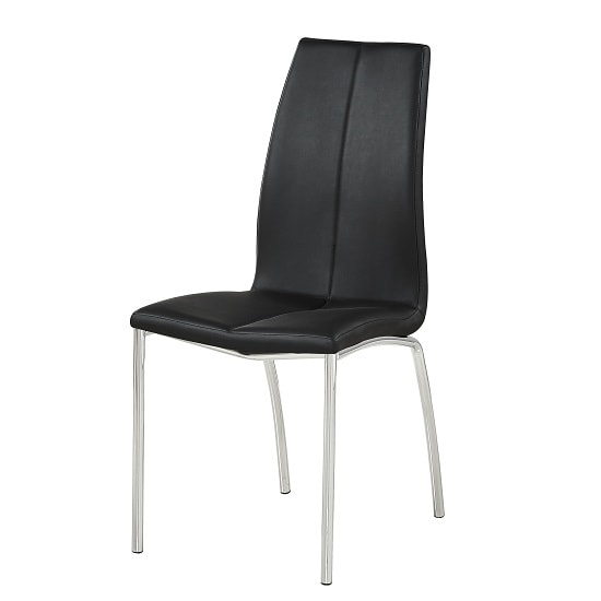 Opal Dining Chair In Black Faux Leather With Chrome Base