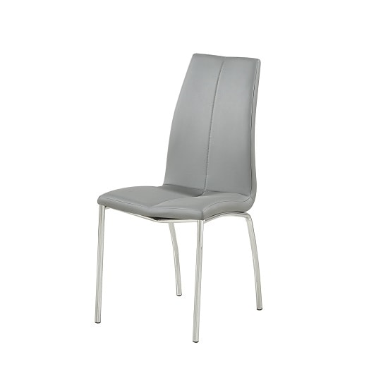 Opal Dining Chair In Grey Faux Leather With Chrome Base