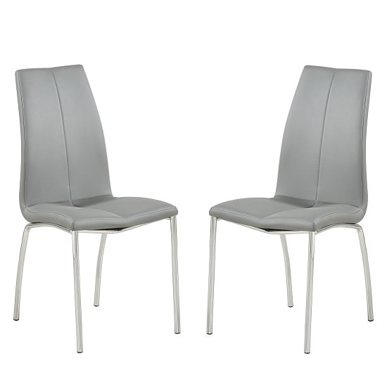Opal Dining Chair In Grey Faux Leather In A Pair