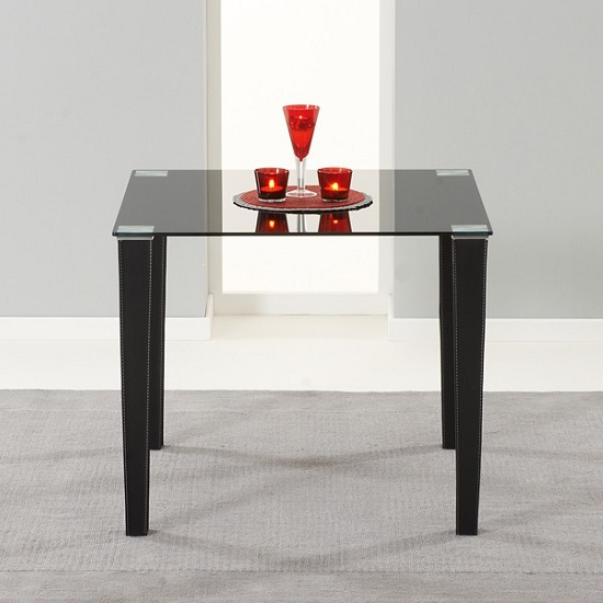 Opalia Glass Dining Table Square In Black With PU Legs