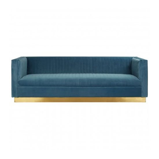 Opals 3 Seater Velvet Sofa In Light Blue