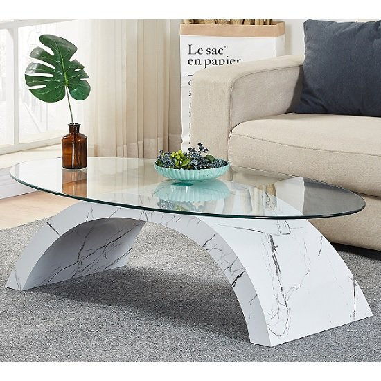 Opel Glass Coffee Table Oval In Clear And Glossy Marble Finish