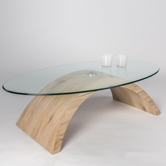 Opel Glass Coffee Table Oval In Clear With White Oak Base
