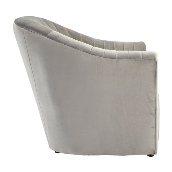 Larawag Grey Velvet Armchair With Natural Wood Feets    _3
