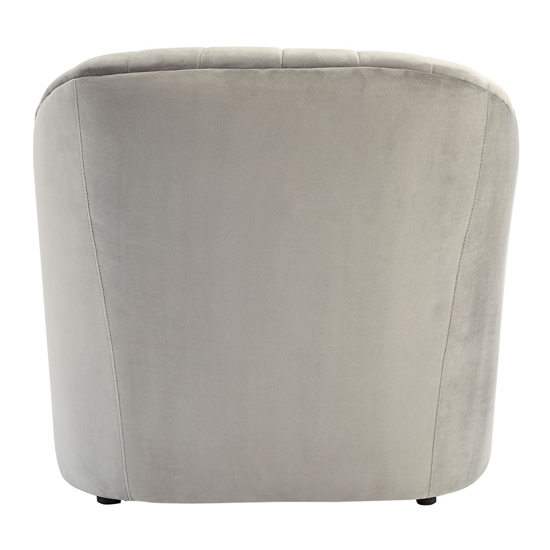 Larawag Grey Velvet Armchair With Natural Wood Feets    _4