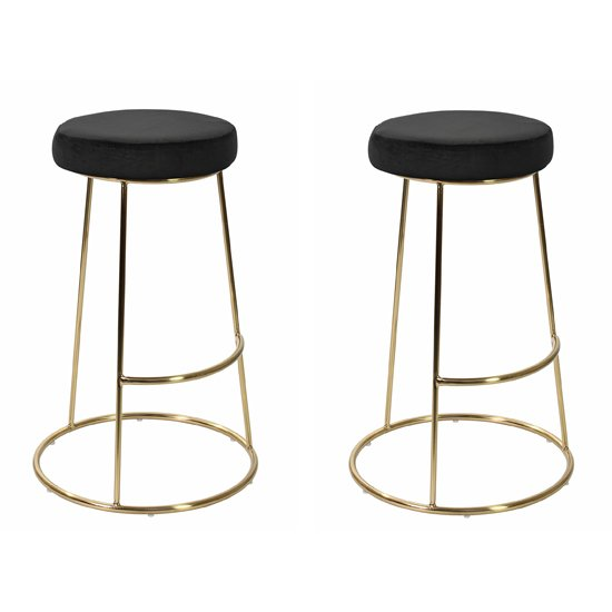 Opera Black Finish Bar Stool In Pair