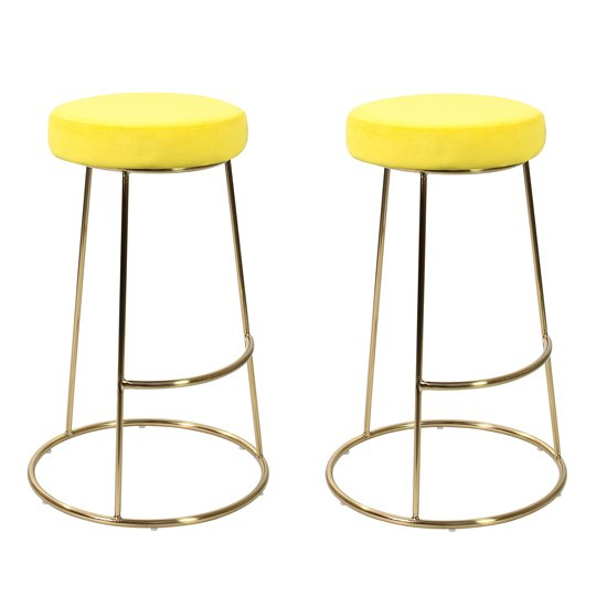Opera Yellow Finish Bar Stool In Pair