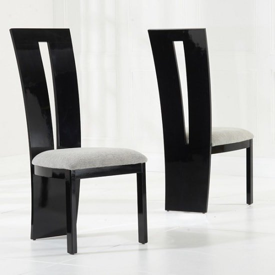 Hamlet Marble Dining Table In Black And 8 Ophelia Grey Chairs_5