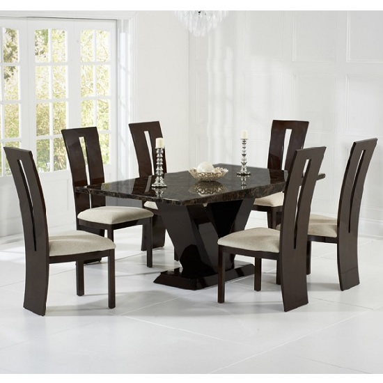Ophelia Marble Dining Set In Brown With 6 Cream Chairs