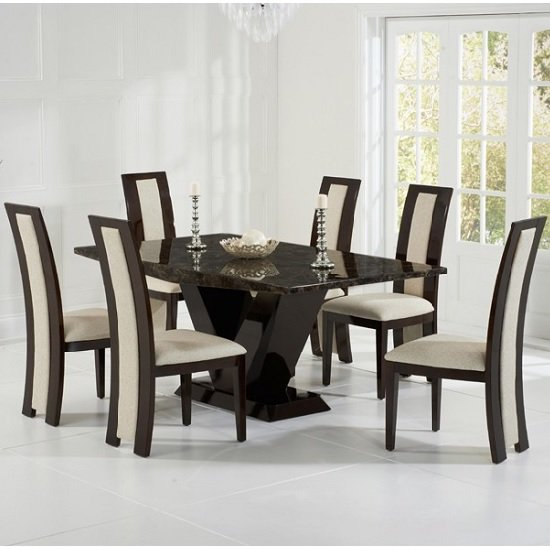 Ophelia Marble Dining Table In Brown With 6 Allie Cream : opheliamarblediningtablealliecreamchairs from www.furnitureinfashion.net size 550 x 550 jpeg 75kB