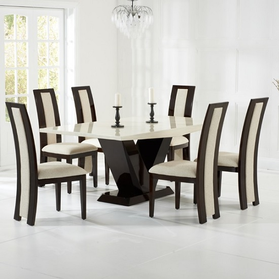 Ophelia Marble Dining Table In Cream With 6 Allie Chairs