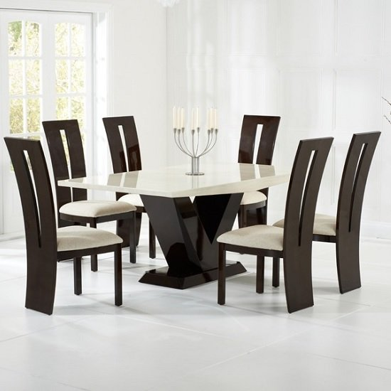 Ophelia marble dining set in cream and brown with 6 chairs for Dining table set latest design