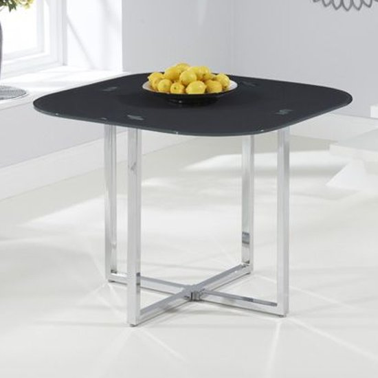 Ophiuchus Grey Glass Top Dining Table With Chrome Legs