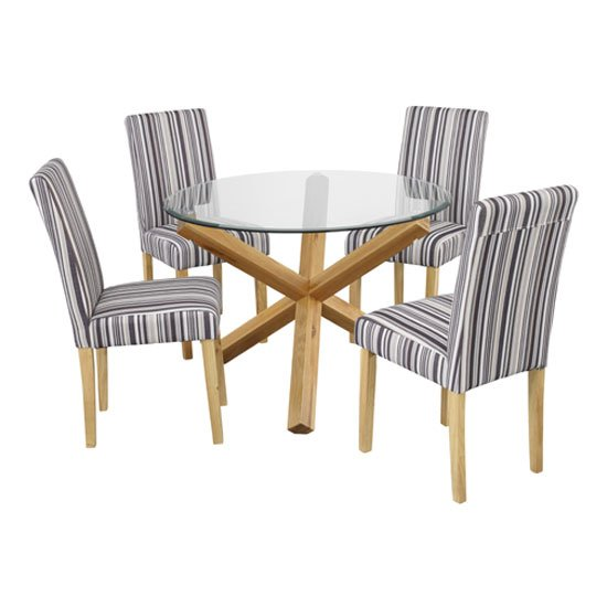Oporto Round Glass Dining Table with 4 Lorenzo Dining Chairs