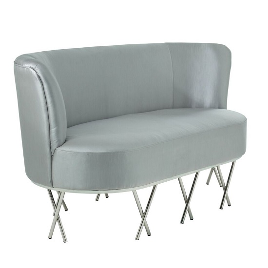 Oprah 2 Seater Sofa In Grey Silk With Silver Legs