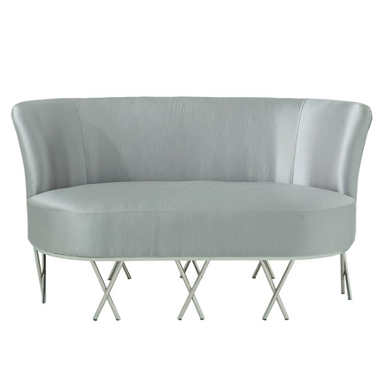 Oprah 2 Seater Sofa In Grey Silk With Silver Legs_2
