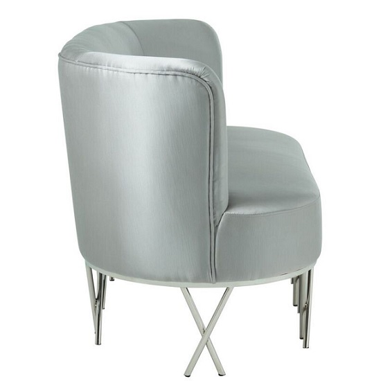 Oprah 2 Seater Sofa In Grey Silk With Silver Legs_3