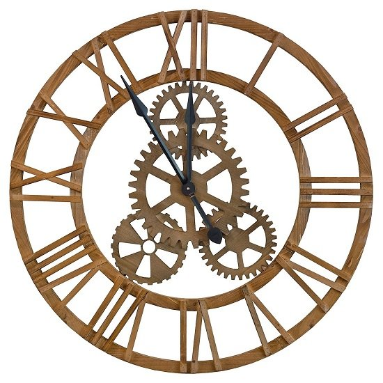 Optika Wooden Cog Clock With Roman Numerals And Detailed Gears_2