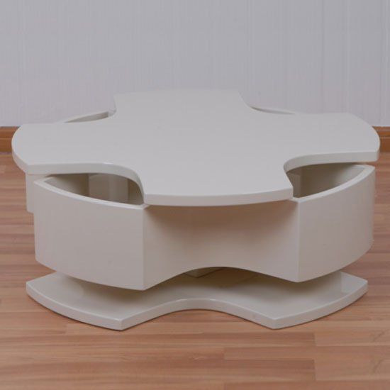 Elisa Coffee Table Square In High Gloss White With Storage: Elisa Coffee Table Square In High Gloss White With Storage 1
