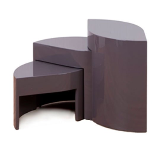optima high gloss taupe 3 piece nest of tables 12204