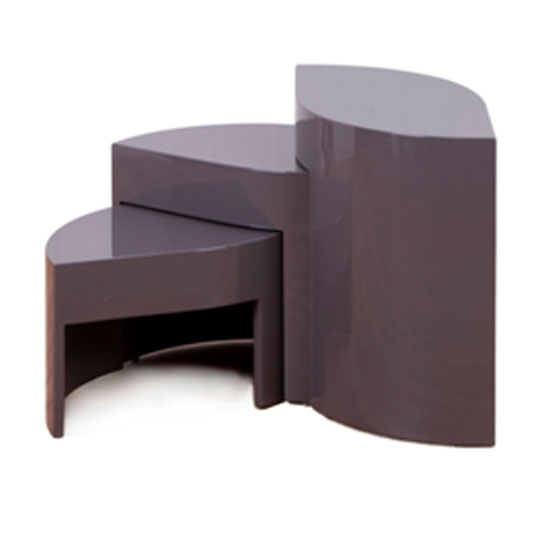 Optima high gloss taupe wooden nest of tables price comparison for Furniture in fashion