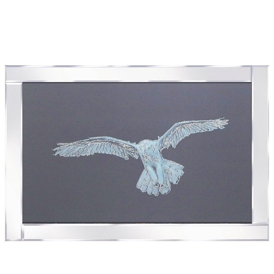Optima Snowy Owl Glass Wall Art In Mirrored Frame