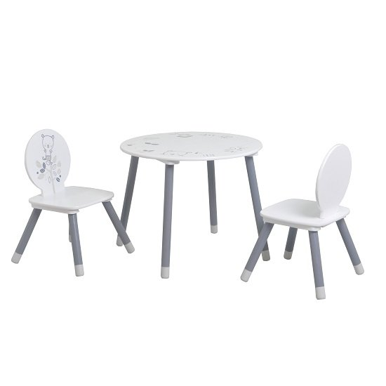 Optima Round Table And 2 Chairs In White And Grey