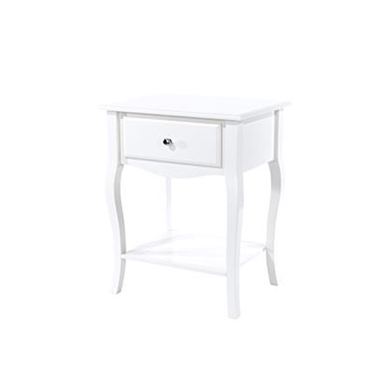 Options Cabriole Bedside Cabinet In White With 1 Drawer