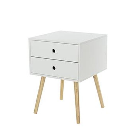 Options Scandia Bedside Cabinet With Wood Legs And 2 Drawers