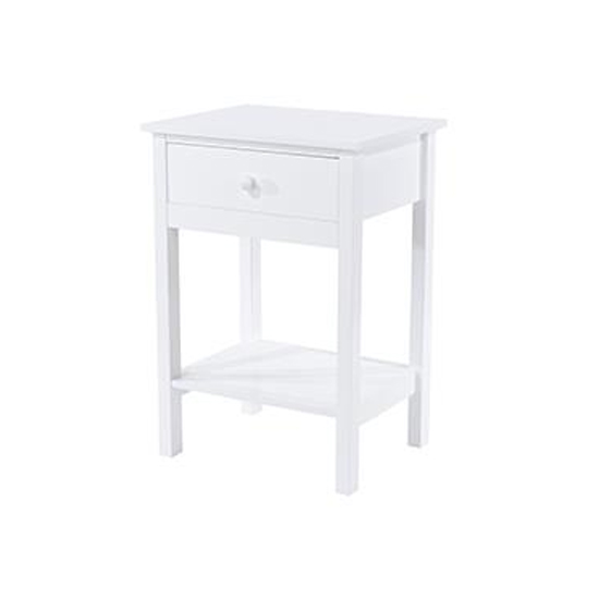 Options Shaker Bedside Cabinet In White Wth 1 Drawer